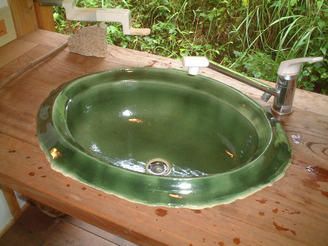緑釉洗面器